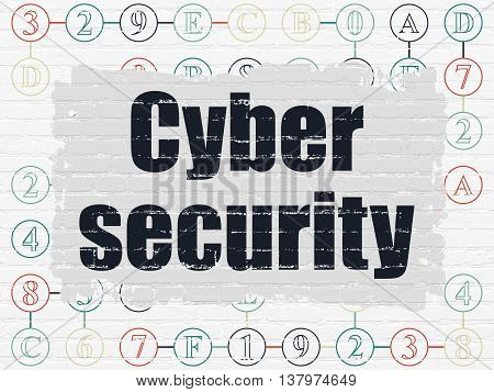 Safety concept: Painted black text Cyber Security on White Brick wall background with Scheme Of Hexadecimal Code