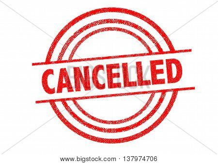 CANCELLED (British spelling) Rubber Stamp over a white background.