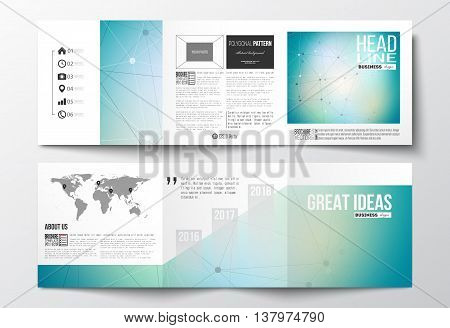 Vector set of tri-fold brochures, square design templates with element of world map. Molecular construction with connected lines and dots, scientific or digital design pattern on gray background.