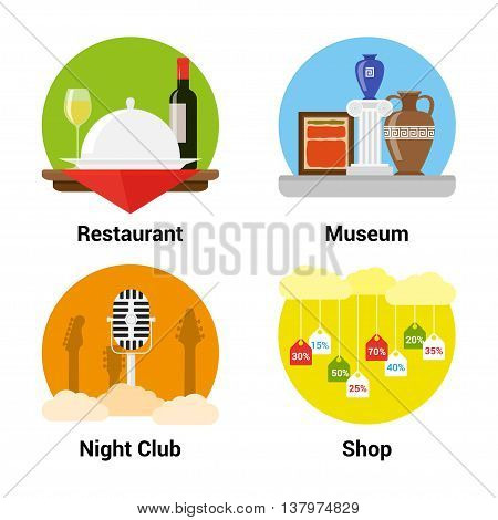 set of flat style icons of entertainments museum night club shopping restaurant