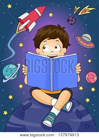 Illustration of a Boy Reading an Astronomy Book