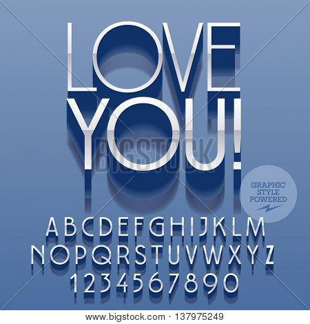 Set of slim reflective alphabet letters, numbers and punctuation symbols. Vector platinum greeting card with text Love you! File contains graphic styles