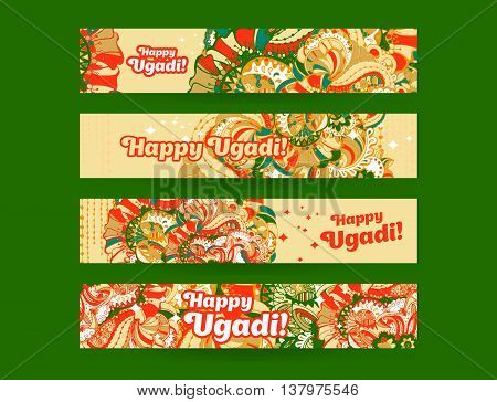 Happy Ugadi, Gudi Padwa Hindu banner templates set with hand drawn zentangle style ornament and typography inscription on a orange background.Vector illustration.