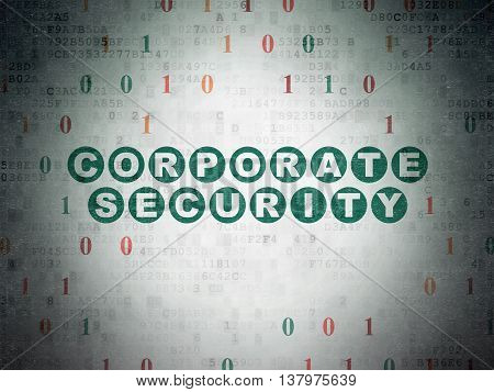 Protection concept: Painted green text Corporate Security on Digital Data Paper background with Binary Code