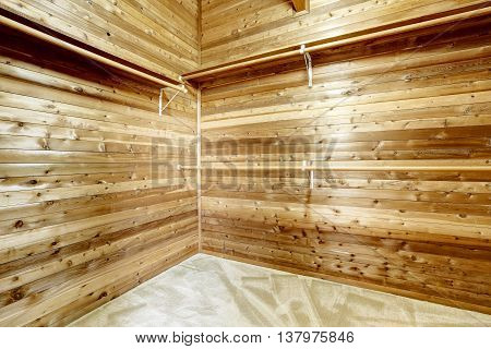 Wide Wooden Dressing Room, Interior Of A Countryside House