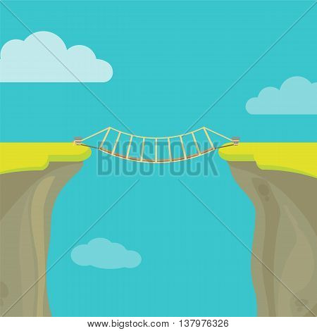 Abyss, gap or cliff concept with bridge sky and clouds. Vector colorful illustration in flat style