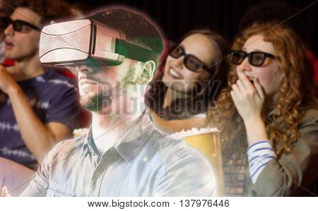 Man using a virtual reality device against young friends watching a 3d film