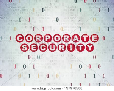 Safety concept: Painted red text Corporate Security on Digital Data Paper background with Binary Code