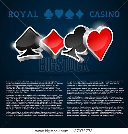 Dark blue background with glossy 3D cards suits and text template. Vector casino design. Poker club illustration.