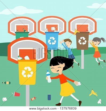 Children recycle playing at basket with recycling bin vector illustration for eco green education