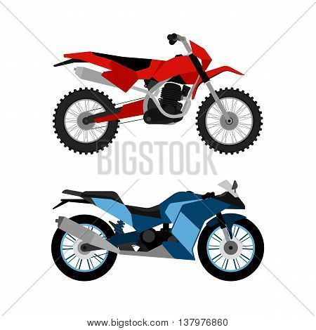 Motorcycle vector set. Motorbike collection. Flat enduro and sport bike design. Modern sport technical illustration for web and print.