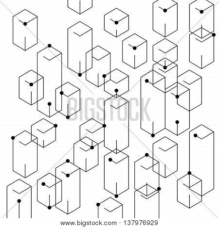 Abstract lines and dots vector texture. Modern technology background. Connection structure. Digital vector illustration for web and print design. Geometric connection concept.