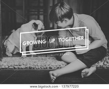 Dog Growing Up Together Concept