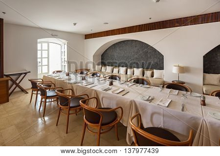 SVETI STEFAN, MONTENEGRO - SEPTEMBER 09: Restaurant interior in island hotel on September 09, 2015 in Sveti Stefan Montenegro.