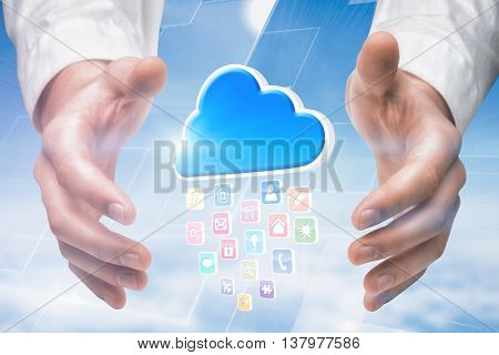 Hands holding against blue sky over clouds at high altitude