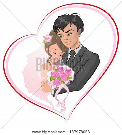 Just married bride and groom. Newlyweds in frame in shape of heart. Vector cartoon illustration