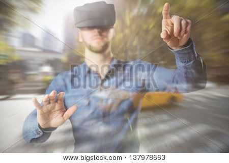 Man using a virtual reality device against picture of a zebra crossing