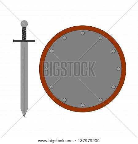 Set of sign round shield and sword silver. Combat color icon isolated on white background. Flat mark. Symbol of a steel elements. Logo for military and security. Stock vector illustration
