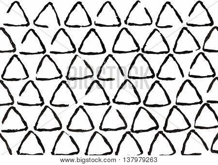 Grunge Triangle Black Strokes Pattern.