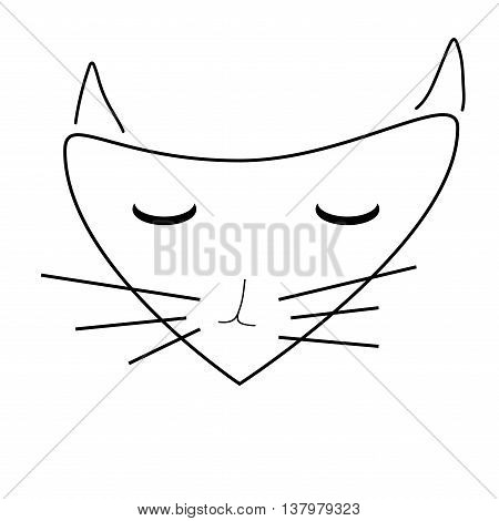 Sign face of cat. Pussycat mask monochrome icon isolated on white background. Abstract plane mark with kitten snout artwork. Flat style symbol of a cat head. Logo for animal. Stock vector illustration