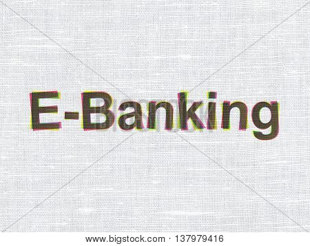 Business concept: CMYK E-Banking on linen fabric texture background