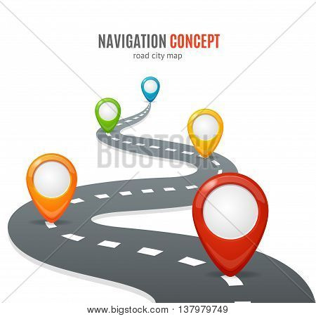 Navigation Concept. Road with Map Pins or Markers. Vector illustration