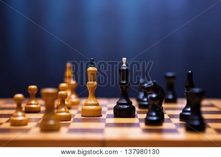 Chess On A Wooden Board