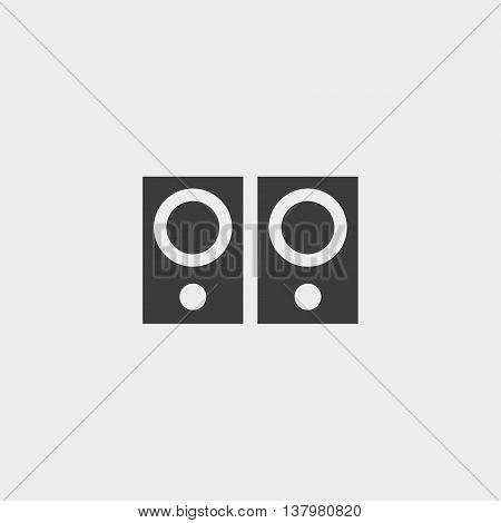 Musical speaker icon in a flat design in black color. Vector illustration eps10