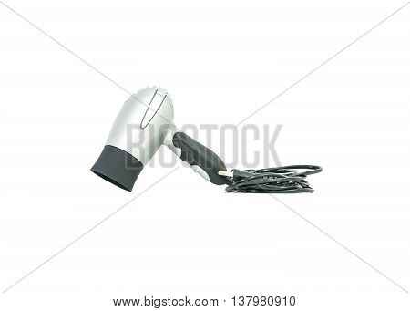 Closeup gray hair dryer with electric wire isolated on white background