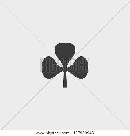 Clover leaf icon in a flat design in black color. Vector illustration eps10