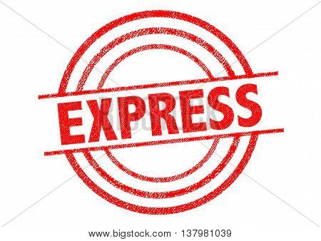 EXPRESS red Rubber Stamp over a white background.