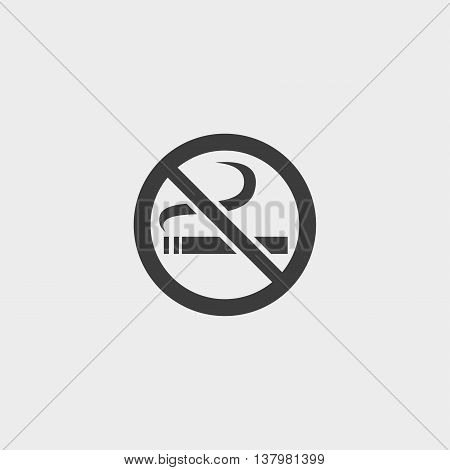 No smoking icon in a flat design in black color. Vector illustration eps10