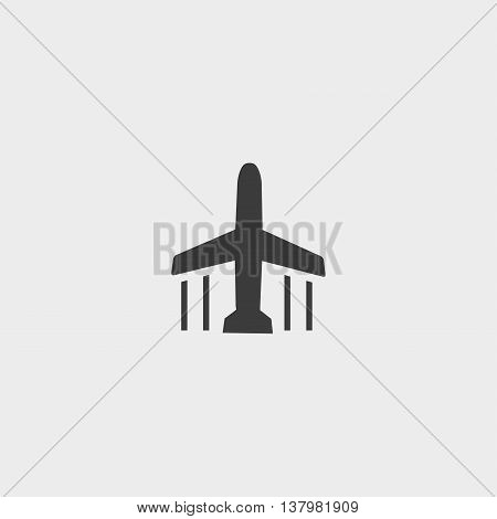 Airplane icon in a flat design in black color. Vector illustration eps10