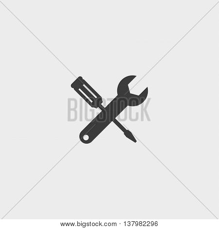 Wrench and screwdriver icon in a flat design in black color. Vector illustration eps10