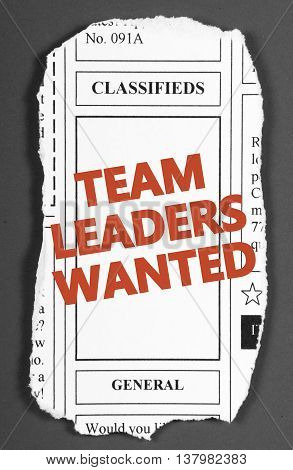 Newspaper clipping from the classified advertising section with the words Team Leaders Wanted added in red text