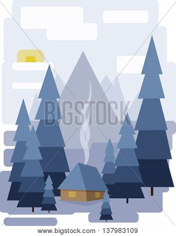 Abstract landscape design with white trees and clouds a house with smoke snowing in a forest in winter flat style. Digital vector image.