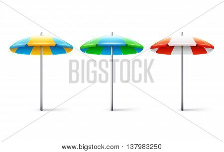 Set Of Different Striped Beach Umbrellas Isolated On White Background