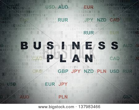 Finance concept: Painted black text Business Plan on Digital Data Paper background with Currency