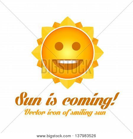 Vector illustration of a smiling sun. Icon character sun. Illustration of good summer weather and clear weather.