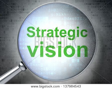 Business concept: magnifying optical glass with words Strategic Vision on digital background, 3D rendering