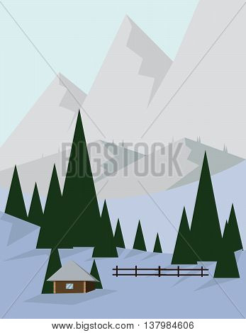 Abstract landscape design with green trees and silver mountains a house in the forest and snow flat style. Digital vector image.