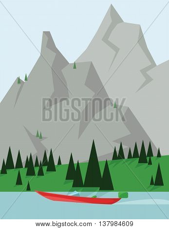 Abstract landscape design with green trees and silver mountains a red boat on a lake flat style. Digital vector image.