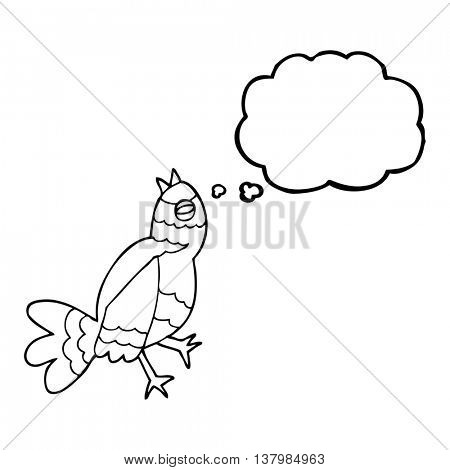 freehand drawn thought bubble cartoon bird singing