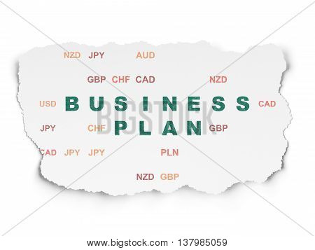 Finance concept: Painted green text Business Plan on Torn Paper background with  Currency