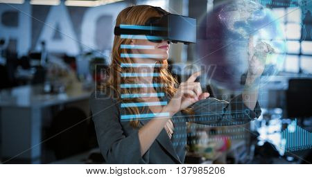 Earth globe against businesswoman using virtual reality simulator
