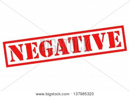 NEGATIVE red Rubber Stamp over a white background.