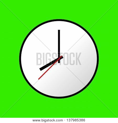 Clock icon, Vector illustration, flat design. Easy to use and edit. EPS10. Green background.