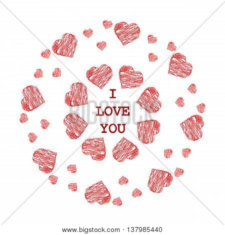 Pattern with abstract red hearts in ethnic style for drawing on greeting card wedding on cookware or vase holiday or other