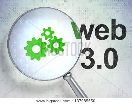 Web design concept: magnifying optical glass with Gears icon and Web 3.0 word on digital background, 3D rendering