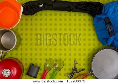 Set of hiking equipment. Top view. Frame
